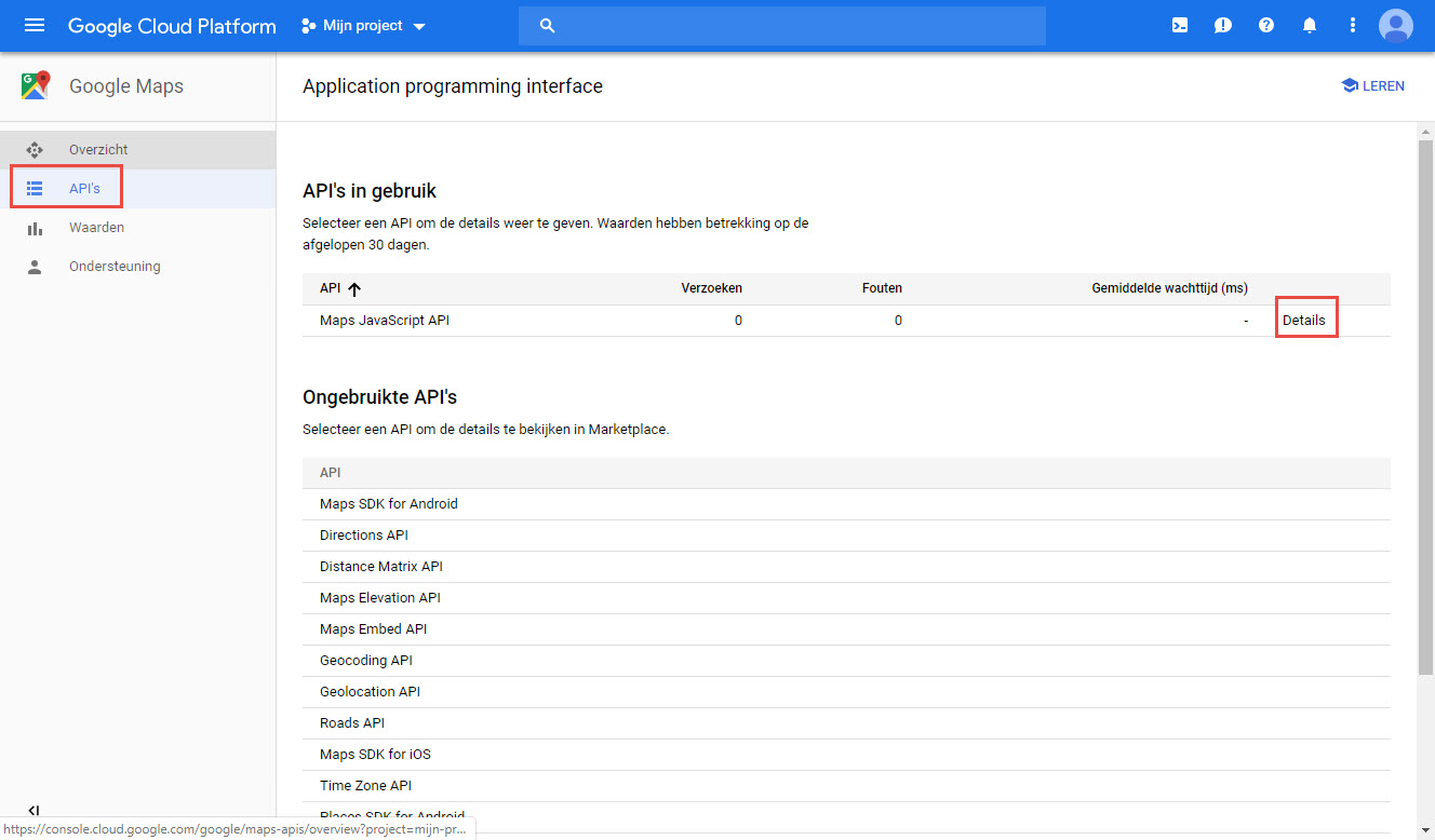 Stap 3: Google Maps Platform API Key Inschakelen